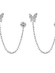 cheap -925 sterling silver double hole chain earrings for women butterfly cz stud earring double piercing minimalist tassel chain drop dangle earrings cartilage hopp chain earrings hypoallergenic