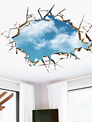 cheap -Blue Sky And White Clouds Landscape Wall Stickers Bedroom Living Room Removable PVC Home Decoration Wall Decal 1pc