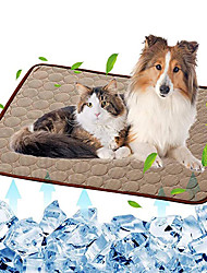 cheap -Dog Self Cooling Mat Pet Washable Summer Cooling Pads Cooling Blanket Hot Weather Sleeping Kennel Mat,Ice Silk Sleep Mat Pad Non-Toxic Breathable Sleep Bed Beach for Large Dogs Cats Animal No Water