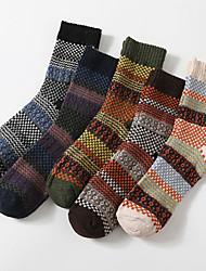 cheap -Fashion Comfort Men's Socks Multi Color Socks Warm Casual Multi color 5 Pairs