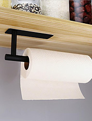 cheap -Paper Towel Holder Square Round Black Non-perforated Stainless Steel Kitchen Paper Towel Rack Cabinet Paper Towel Rack Kitchen Roll Paper Holder