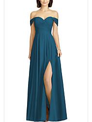 cheap -A-Line Off Shoulder Floor Length Chiffon Bridesmaid Dress with Pleats / Split Front