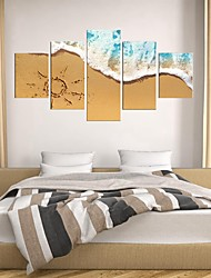 cheap -5 Panels Wall Art Canvas Prints Painting Artwork Picture landscape Sea Beach Home Decoration Decor Rolled Canvas No Frame Unframed Unstretched