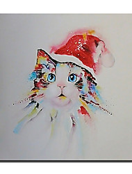cheap -Christmas Oil Painting Handmade Hand Painted Wall Art Mintura Modern Abstract Cat Animal Home Decoration Decor Rolled Canvas No Frame Unstretched
