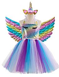 cheap -Kids Little Girls' Dress colour Tulle Dress Party Birthday Sequins Patchwork Rainbow Knee-length Sleeveless Princess Costume Dresses Halloween Spring Summer Slim 3-12 Years