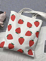 cheap -Canvas Shoulder storage bag back to school Halloween goody bag portable straberry grocery shopping cloth book tote   34*38 cm