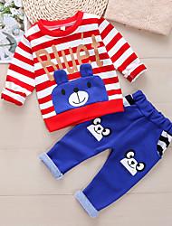 cheap -Kid's Boys' Sweatshirt & Pants 2 Pieces Long Sleeve Red Dark Blue Cartoon Stripes Bear Cotton Chic & Modern Cute
