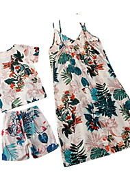 cheap -Dresses Tops Bottom Mommy and Me Cotton Plant Print White Daily Matching Outfits / Summer