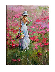 cheap -Oil Painting Handmade Hand Painted Wall Art Vertical Modern Girl Picking Flowers Abstract Picture Home Decoration Decor Rolled Canvas No Frame Unstretched
