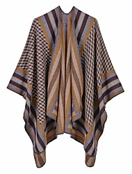 cheap -Fashionable striped small square thermal shawl ladies imitation cashmere split scarf air conditioning shawl cloak 130x150CM