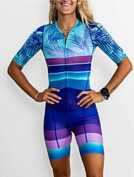 cheap -Women's Short Sleeve Triathlon Tri Suit Mineral Green Bike Sports Horizontal Stripes Mountain Bike MTB Triathlon Clothing Apparel