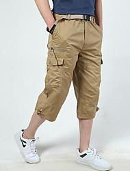 cheap -Men's Stylish Casual / Sporty Comfort Breathable Capri shorts Cotton Daily Sports Pants Solid Color Calf-Length Pocket ArmyGreen Khaki Black Dark Gray