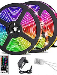 cheap -LED Strip Lights Waterproof 10M(2x5M) Flexible LED Strip Lights RGB Tiktok Lights 2835 600LEDs 8mm 44Keys IR Remote Controller