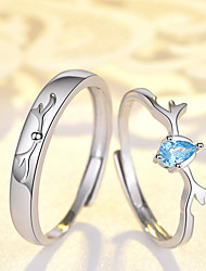 cheap -Couple Rings Briolette Rose Gold Blue Silver Rhinestone S925 Sterling Silver Deer Stylish Unique Design Ethnic 2pcs Adjustable / Couple's / Adjustable Ring