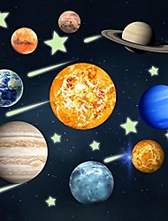 cheap -glow in the dark solar system stickers 9 planets wall glowing decals gift with stars meteors for ceiling kids bedroom decoration for home and room decoration