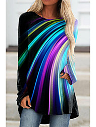 cheap -Women's Abstract Painting Tunic T shirt Rainbow Color Block Long Sleeve Print Round Neck Basic Tops Blue