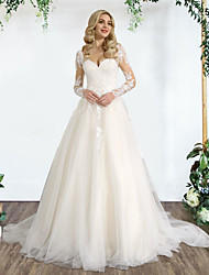 cheap -Princess A-Line Wedding Dresses Sweetheart Neckline Sweep / Brush Train Lace Tulle Sleeveless Country Formal Luxurious with Pleats Appliques 2021