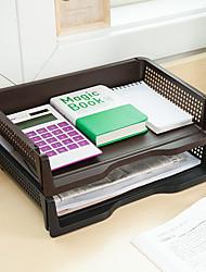cheap -Plastic Back to school gift Multi-layer Large Capacity Desk Organizer Desktop Storage Box Pen Pencil Holder Black Brown