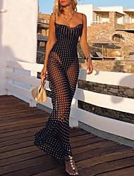 cheap -Sheath / Column Elegant Sexy Holiday Wedding Guest Dress Spaghetti Strap Sleeveless Ankle Length Spandex with Polka Dot 2021