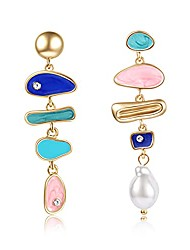 cheap -pearl dangle earring for women girl, irregular colorful oil baroque design, culture style aaaa cubic zirconia 14k gold pearl earring gift for women girl (crystal)