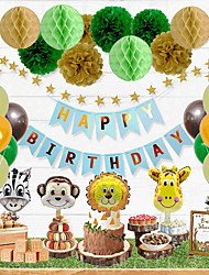 cheap -Children's Forest Animal Theme Birthday Decoration Balloon Package Baby First Year Party Decoration Decoration Boom