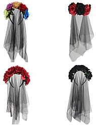 cheap -Halloween Red Black Hair Hoop Beautiful Woman Witch Dress up Rose Flower Veil Deads Day Party Head Buckle Hair Accessories