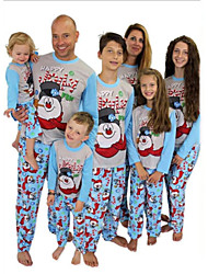 cheap -Christmas Pajamas Family Look Cartoon Christmas pattern Letter Print Blue Long Sleeve Active Matching Outfits / Fall / Winter / Casual