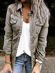 cheap -Women's Jacket Street Fall Winter Short Coat Shirt Collar Regular Fit Warm Fashion Basic Casual Jacket Long Sleeve Solid Colored Pocket Gray Green Spring  Holiday