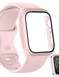 cheap -sport bands plus hard pc screen protector case compatible with apple watch 44mm, soft silicone replacement strap women men wristband accessories for iwatch series 6 5 4 se