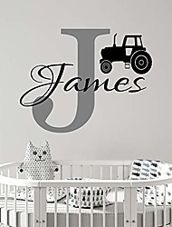 """cheap -personalized cartoon tractor name - wall stickers art decor decal vinyl plaster paper nursery house living bedroom room simple custom decoration tasteless removable self customized 22"""" x 22"""""""