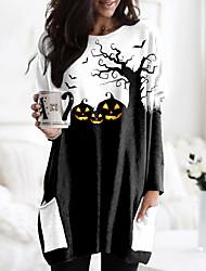 cheap -Women's Halloween Floral Theme Abstract Painting T shirt Graphic Pumpkin Long Sleeve Pocket Print Round Neck Basic Halloween Tops Black / 3D Print