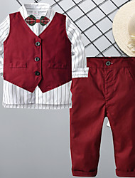 cheap -Kids Boys' Suit Vest Shirt & Pants Clothing Set 3 Pieces Long Sleeve Wine Striped Bow Cotton Party Date Comfort Gentle Regular 2-8 Years / Fall / Winter