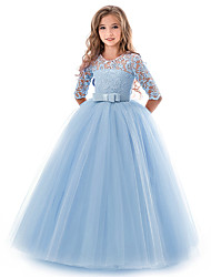 cheap -Kids Little Girls' Dress Floral Lace Solid Colored Party Wedding Evening Hollow Out White Blue Purple Lace Tulle Maxi Short Sleeve Flower Vintage Gowns Dresses 3-13 Years
