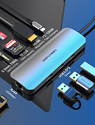 cheap -VENTION with Card Reader(s) Support Power Delivery Function TOLHB USB 3.0 USB C to USB 3.0 USB 3.0 USB C RJ45 SD Card TF Card HDMI USB Hub 9 Ports For Windows, PC, Laptop