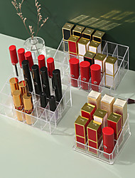 cheap -9/24/36 Lattice Trapezoid Plastic Transparent Makeup Display Rack Lipstick Stand Rack Cosmetic Organizer Holder Box