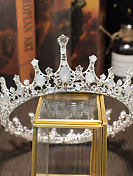 cheap -Bridal Wedding Crown Headdress Silver Crystal Big Round Baroque Crown Hair Accessory