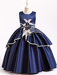 cheap -Ball Gown Floor Length Flower Girl Dresses Wedding Satin Sleeveless Jewel Neck with Appliques