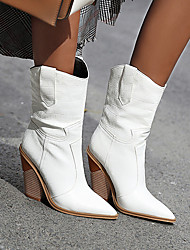 cheap -Women's Boots Cowboy Boots Cuban Heel Pointed Toe Mid Calf Boots Daily PU Light Yellow Dark Red White
