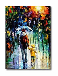 cheap -Oil Painting Handmade Hand Painted Wall Art Abstract Father Kids in Rain 3D Palette Knife Home Decoration Decor Stretched Frame Ready to Hang