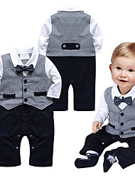 cheap -Baby Boys' Romper Basic Formal Cotton Gray Grid Pattern Color Block Patchwork Long Sleeve / Summer