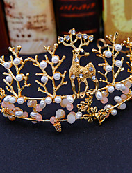 cheap -Girls Princess Hair Hoop Headdress Fawn Modeling Hand Beaded Children's Crown Stage Performance Accessories