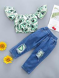 cheap -Kid's Girls' Clothing Set 2 Pieces Short Sleeve Green Avocado Cotton Fashion 1-3 Years / Summer