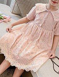 cheap -[110-150cm]girls fresh and sweet lapel lace short-sleeved dress