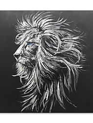 cheap -Oil Painting Handmade Hand Painted Wall Art Animal  Black And White Lion Modern Home Decoration Decor Rolled Canvas No Frame Unstretched