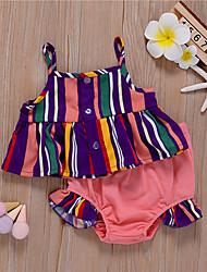 cheap -Baby Girls' Tank & Shorts 2 Pieces Sleeveless Blushing Pink Stripes Cotton Cute