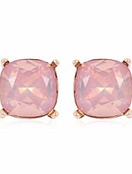 cheap -sparkly faceted jewel statement stud earrings - princess cushion cut sequin confetti square lever, cubic zirconia round, oval bezel (cushion square - light peach gold)