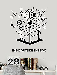 cheap -motivation phrase wall vinyl stickers teens room bedroom think outside box brain wall decals office company wall decor 57x69 cm