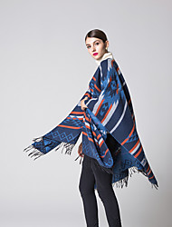 cheap -Geometrical diamond tassel imitation cashmere open fork super large scarf autumn and winter warm air conditioning plus thick cloak130x150CM