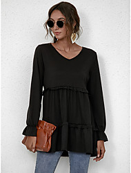 cheap -Women's Blouse Peplum Shirt Plain Long Sleeve Flowing tunic Lettuce Trim V Neck Casual Streetwear Tops Black