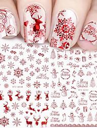 cheap -9 Pcs Holographic Red Christmas Nail Sticker Shine Glitter Snowflake Elk Santa Claus Transfer Slider Winter 3D Decal